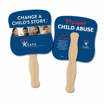 Prevent Child Abuse Full Color IN STOCK Hand Fans (2 designs)