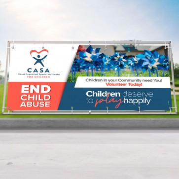 Child Abuse Prevention Pinwheel Vinyl Banner