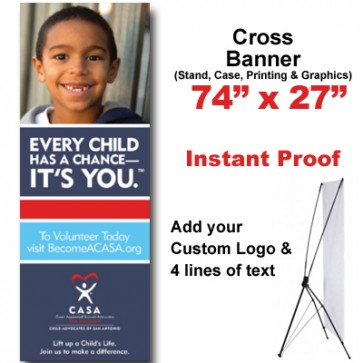 Boy Grinning Cross Banner (74x27)