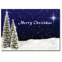 CUSTOM Christmas Card - Lighted Tree Landscape - Direct Print/ No envelopes