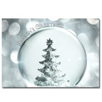 CUSTOM Christmas Card - Snow Globe (Pewter Tree) - Direct Print/ No envelopes