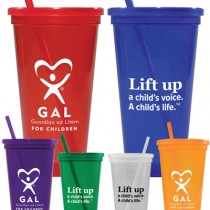 GAL 24-oz. Jeweled Tumbler w/ Lid & Straw
