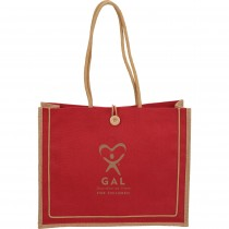 GAL Jute Button Tote - Blue on Backorder till 10/28/19
