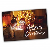 CUSTOMIZABLE / Merry Christmas Card -Kids looking in box Spread the Word  /  BOGO SALE  - UP TO 500 Cards