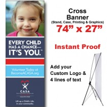 Girl Pink Shirt Cross Banner (74x27)